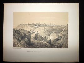 David Roberts 4to 1887 Print. Jerusalem from the road leading to Bethany. Israel